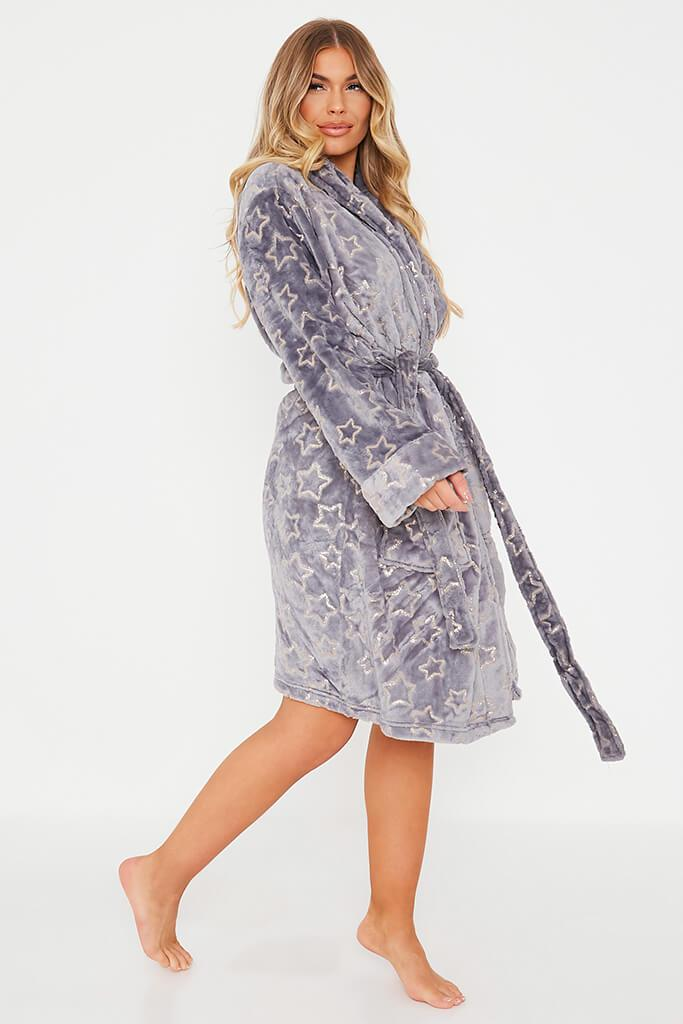 Grey Glitter Star Cosy Dressing Gown view 3