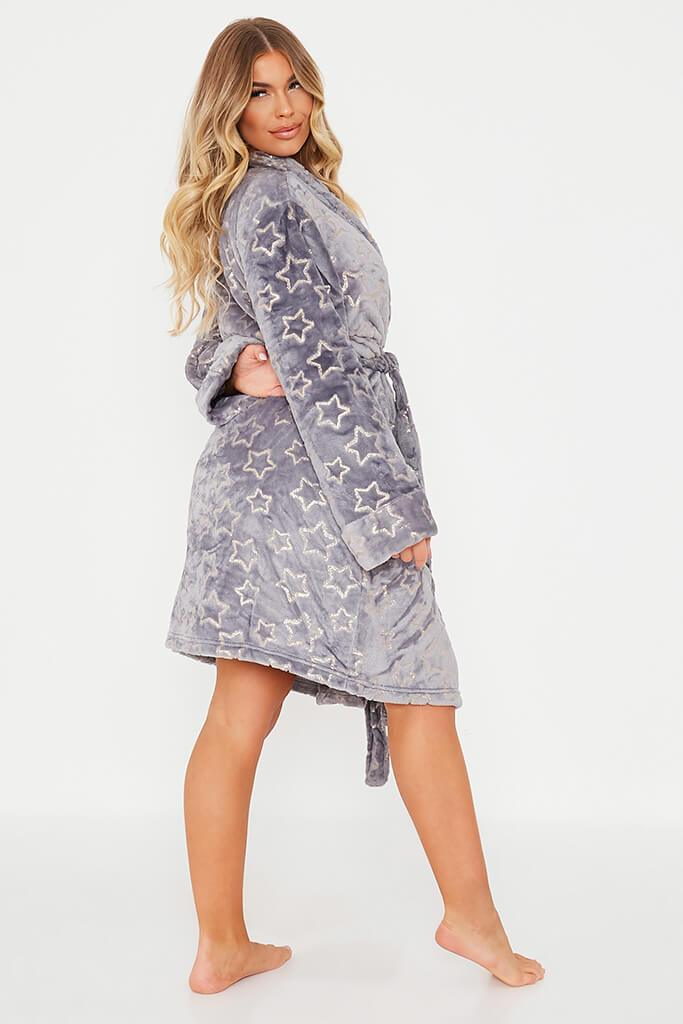 Grey Glitter Star Cosy Dressing Gown view 4