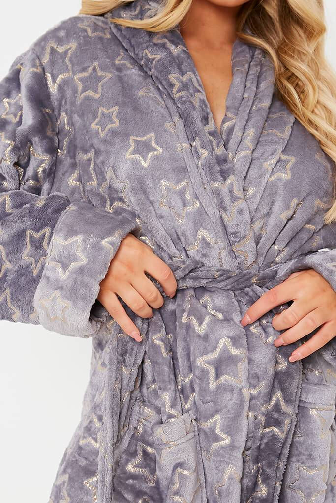 Grey Glitter Star Cosy Dressing Gown view 5