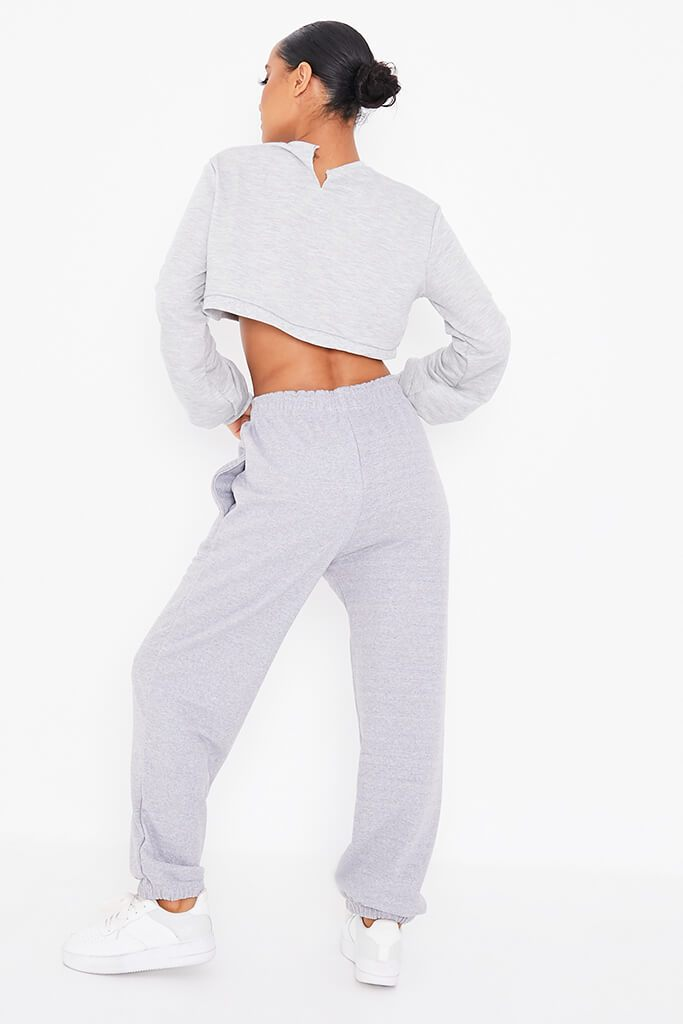 Grey Marl Crew Neck Long Sleeve Cropped Sweatshirt view 4