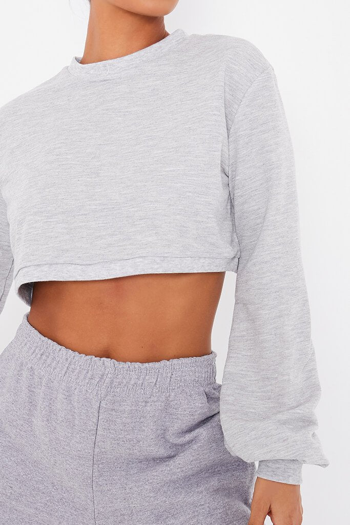 Grey Marl Crew Neck Long Sleeve Cropped Sweatshirt view 5