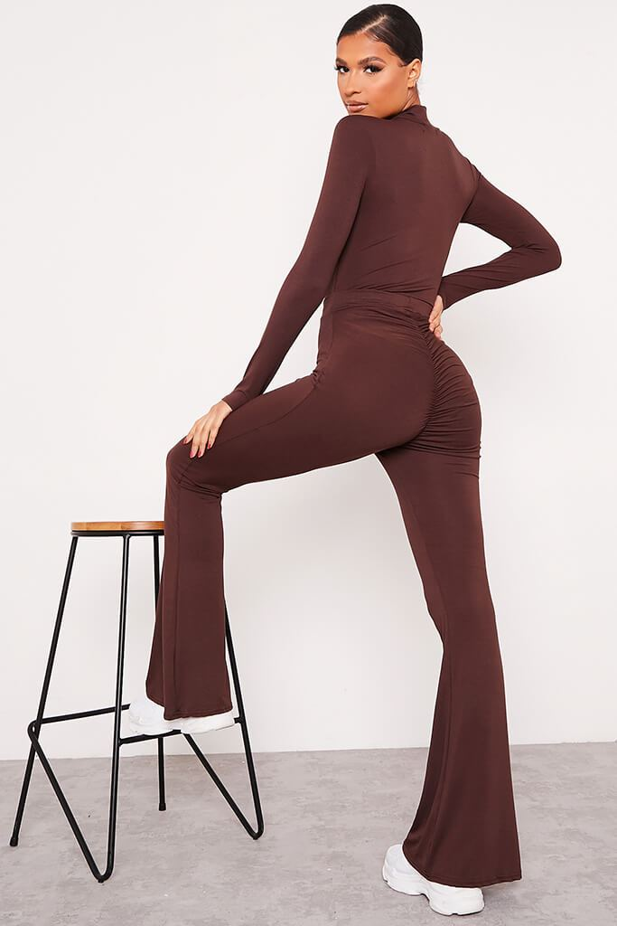 Chocolate Jersey Bum Ruched Flared Trousers