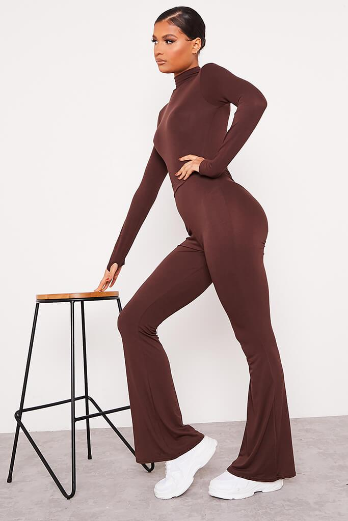 Chocolate Jersey Bum Ruched Flared Trousers view 4