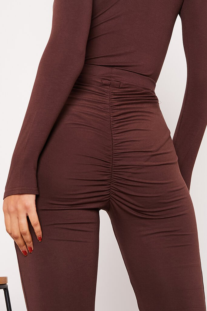 Chocolate Jersey Bum Ruched Flared Trousers view 5