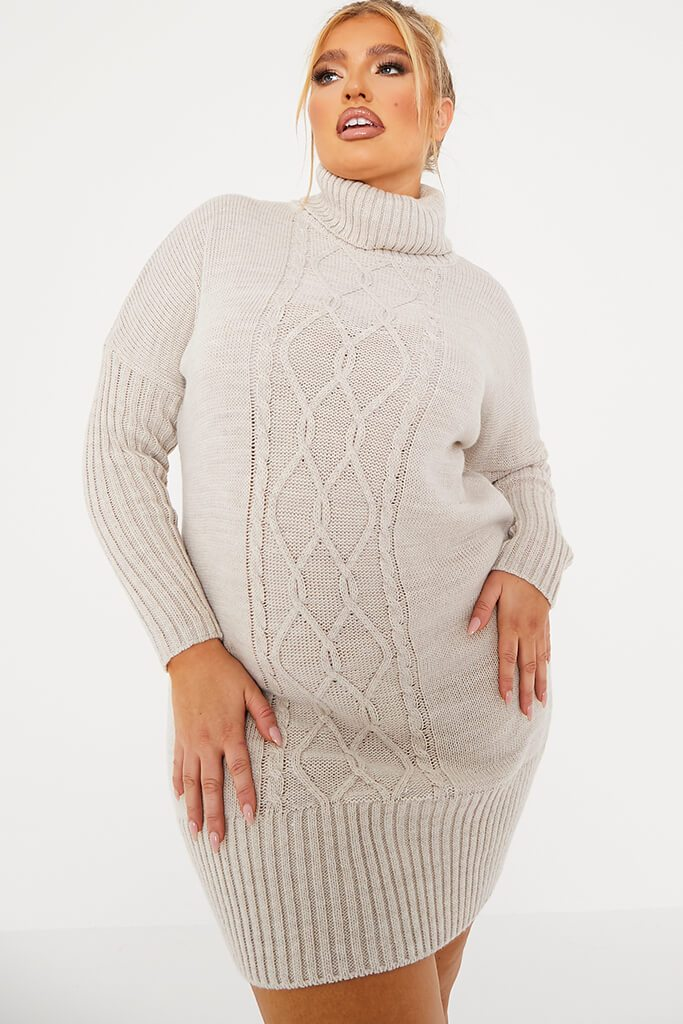 Stone Plus Size Cable Knit Roll Neck Dress