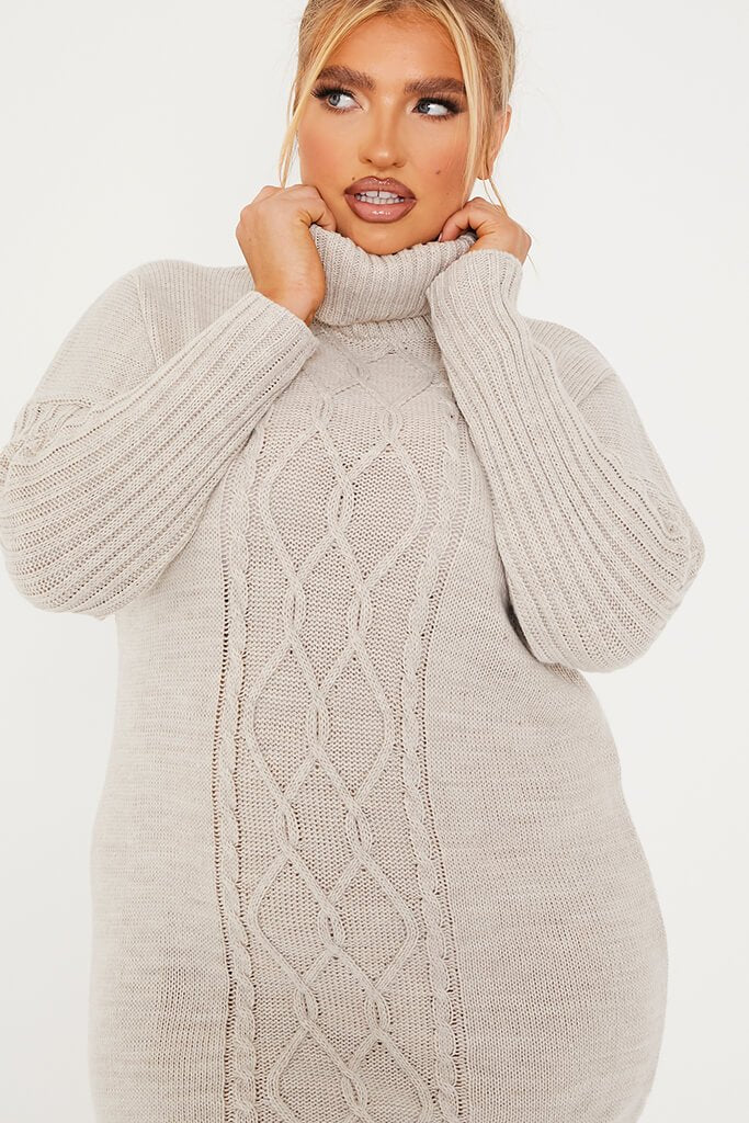 Stone Plus Size Cable Knit Roll Neck Dress view 5