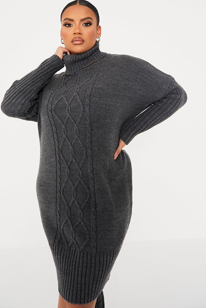 Charcoal Plus Size Cable Knit Roll Neck Dress