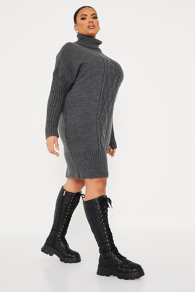 Charcoal Plus Size Cable Knit Roll Neck Dress view 3