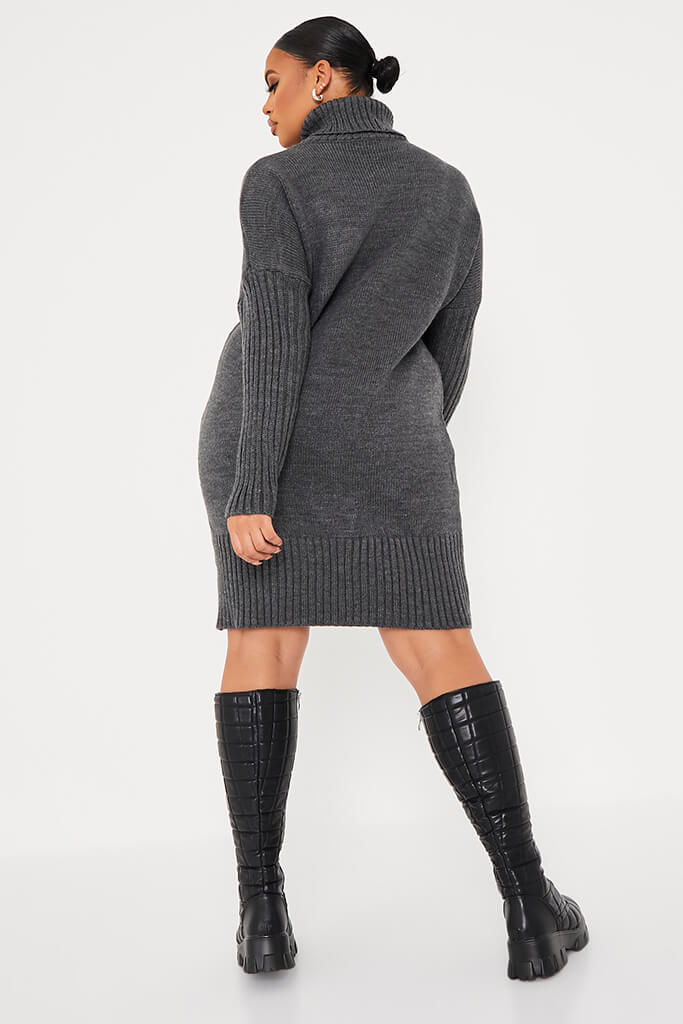 Charcoal Plus Size Cable Knit Roll Neck Dress view 4