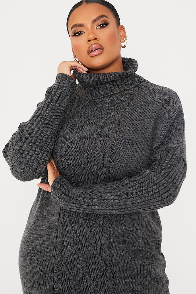 Charcoal Plus Size Cable Knit Roll Neck Dress view 5