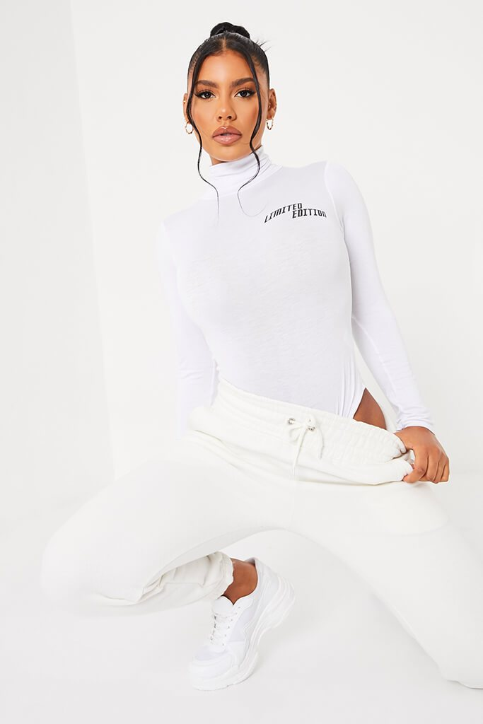 White Limited Edition High Neck Long Sleeve Bodysuit