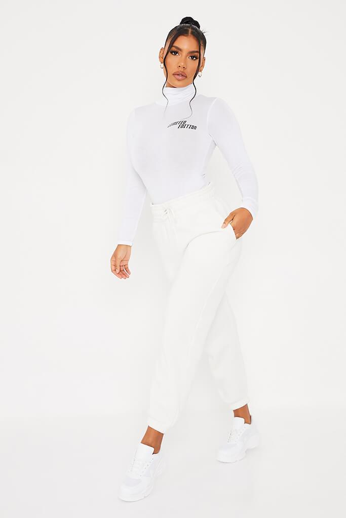 White Limited Edition High Neck Long Sleeve Bodysuit view 3