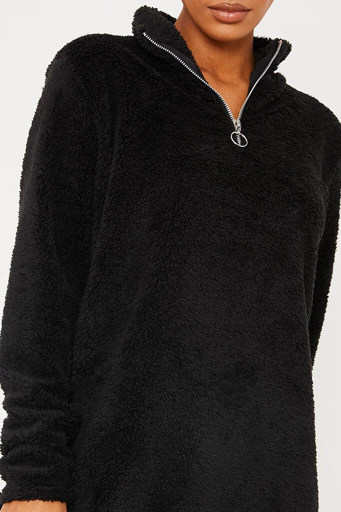 Black Borg Half Zip High Neck Sweater Dress view 5