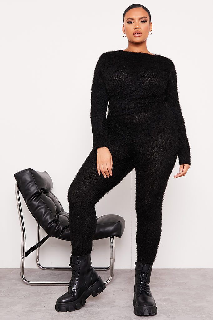 Black Plus Size Eyelash Knit Leggings view main view
