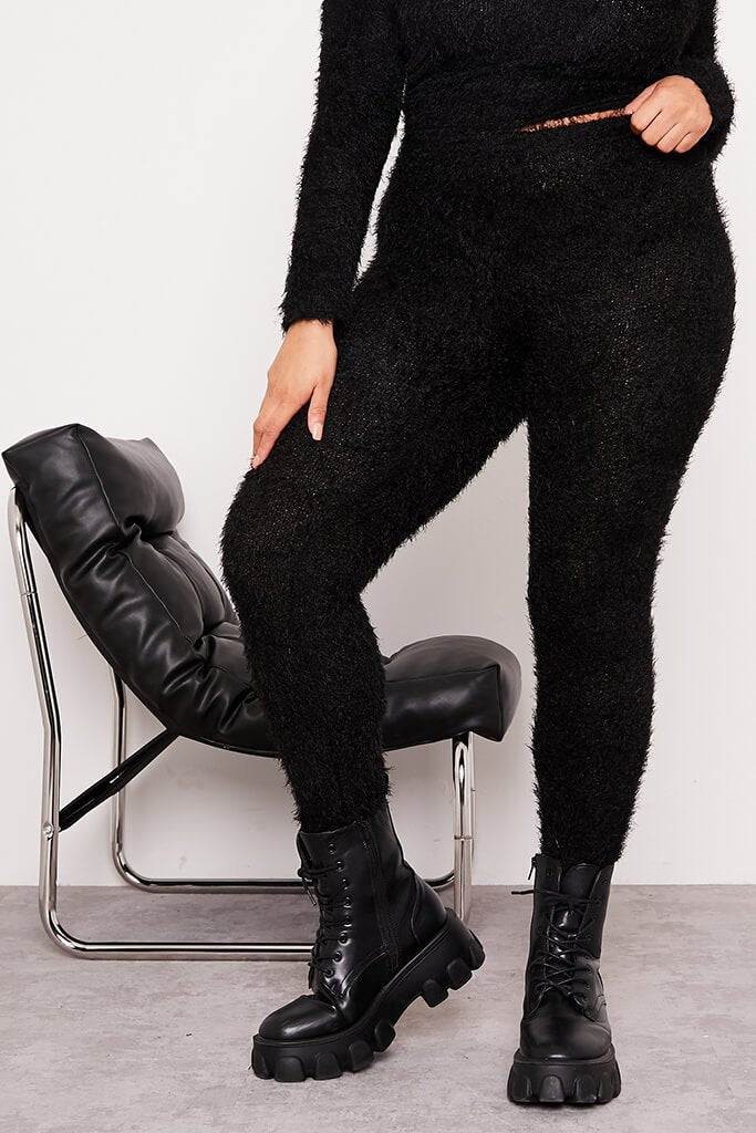 Black Plus Size Eyelash Knit Leggings view 2