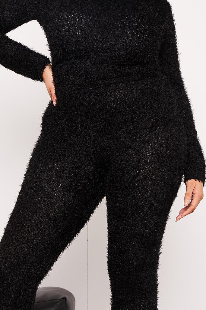 Black Plus Size Eyelash Knit Leggings view 5