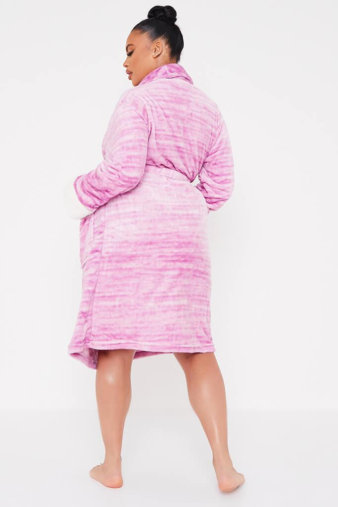 Pink Plus Tiger Striped Cosy Dressing Gown view 4