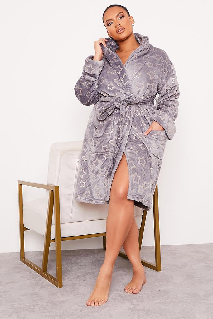 Grey Plus Glitter Star Cosy Dressing Gown view 2