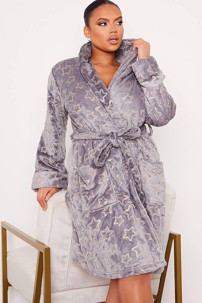 Grey Plus Glitter Star Cosy Dressing Gown