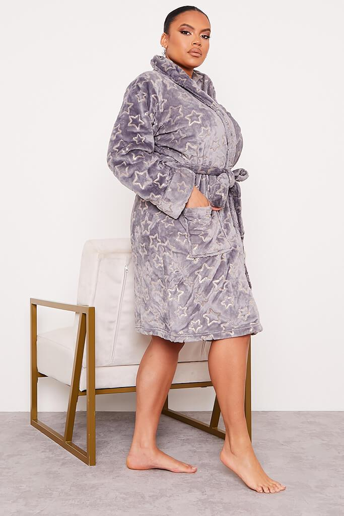 Grey Plus Glitter Star Cosy Dressing Gown view 3