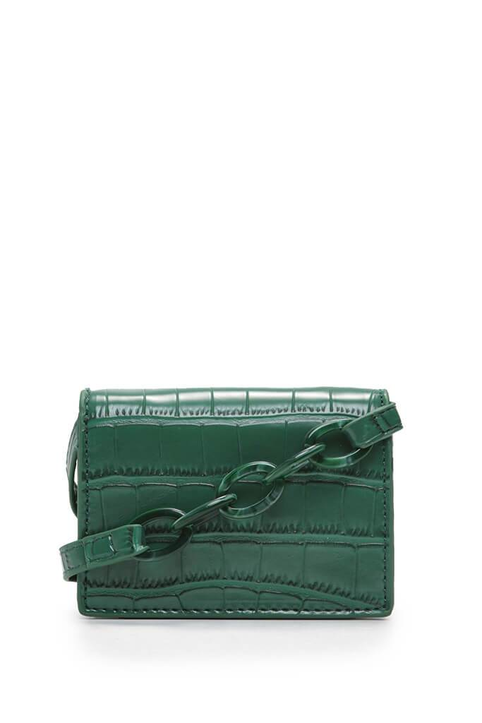 Green Cross Body Mini Bag Croc Chain view 3