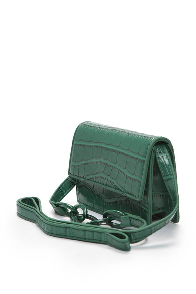 Green Cross Body Mini Bag Croc Chain view 2