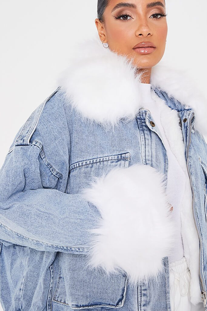Denim Mid Wash Jacket With White Faux Fur view 5