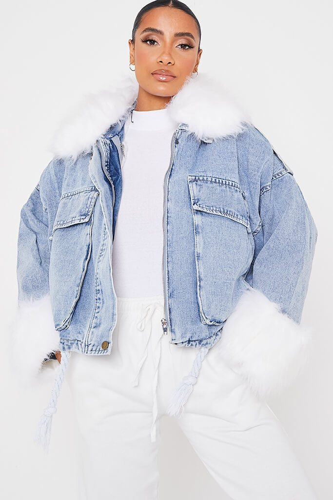 Denim Mid Wash Jacket With White Faux Fur