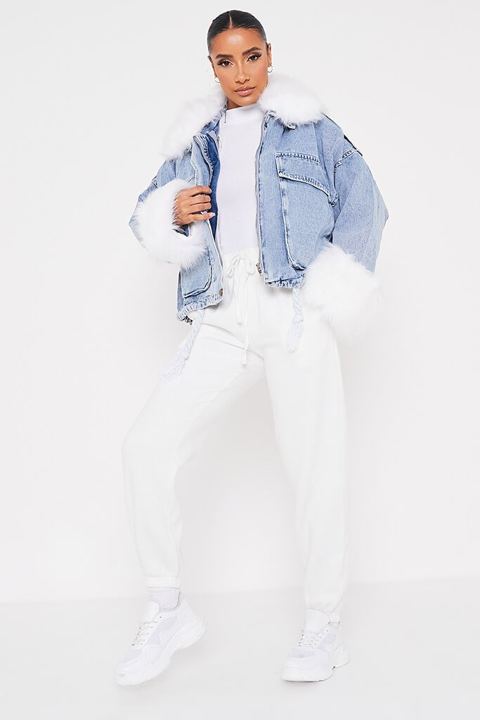 Denim Mid Wash Jacket With White Faux Fur view 2