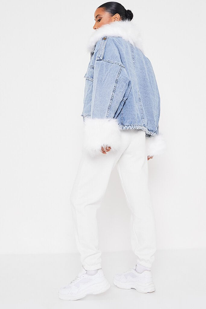 Denim Mid Wash Jacket With White Faux Fur view 3