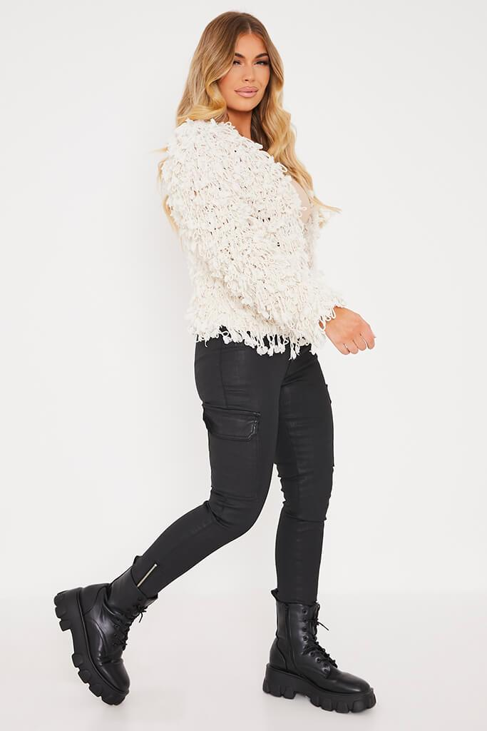 Cream Shaggy Knitted Cropped Cardigan view 3