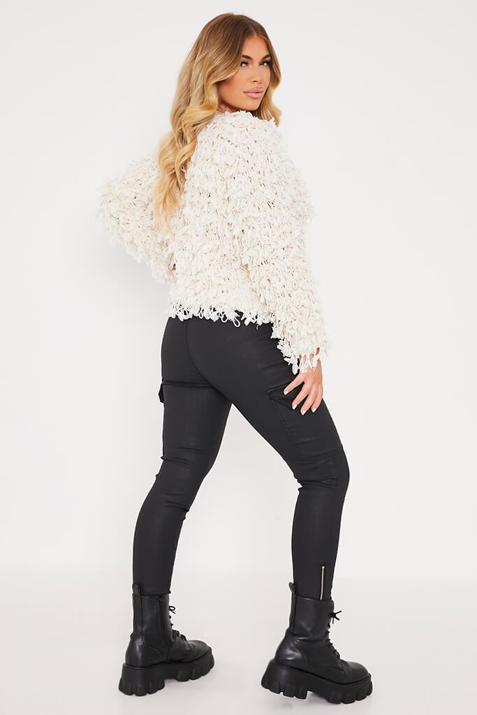 Cream Shaggy Knitted Cropped Cardigan view 4