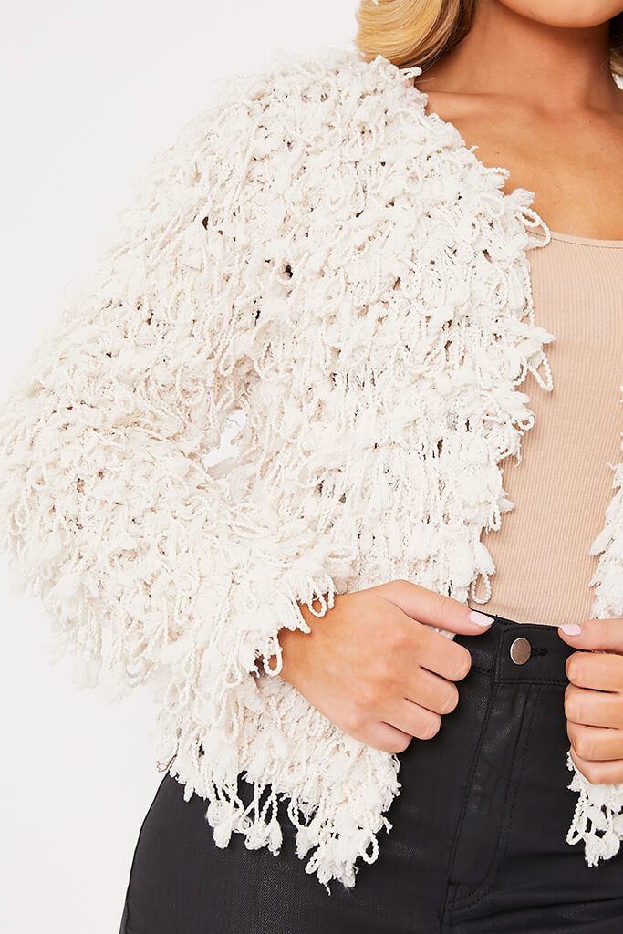 Cream Shaggy Knitted Cropped Cardigan view 5