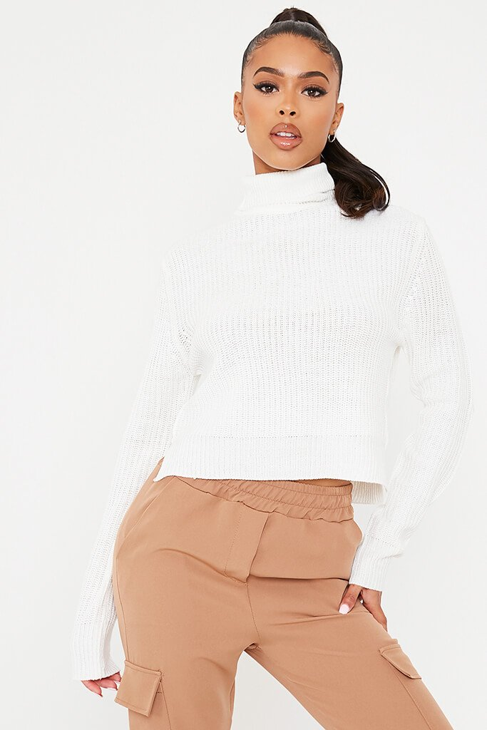 White Knitted Cropped Roll Neck Top