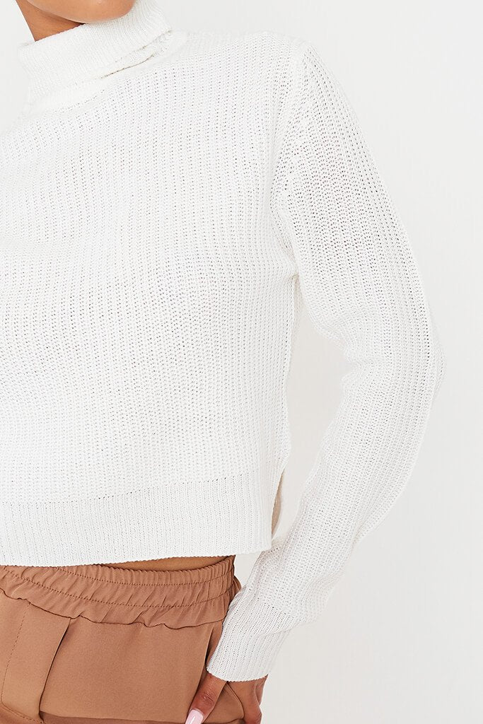 White Knitted Cropped Roll Neck Top view 5