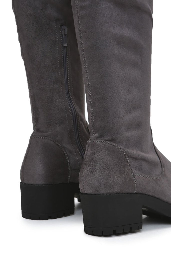 Grey Faux Suede Chunky Sole Over The Knee Boots view 4