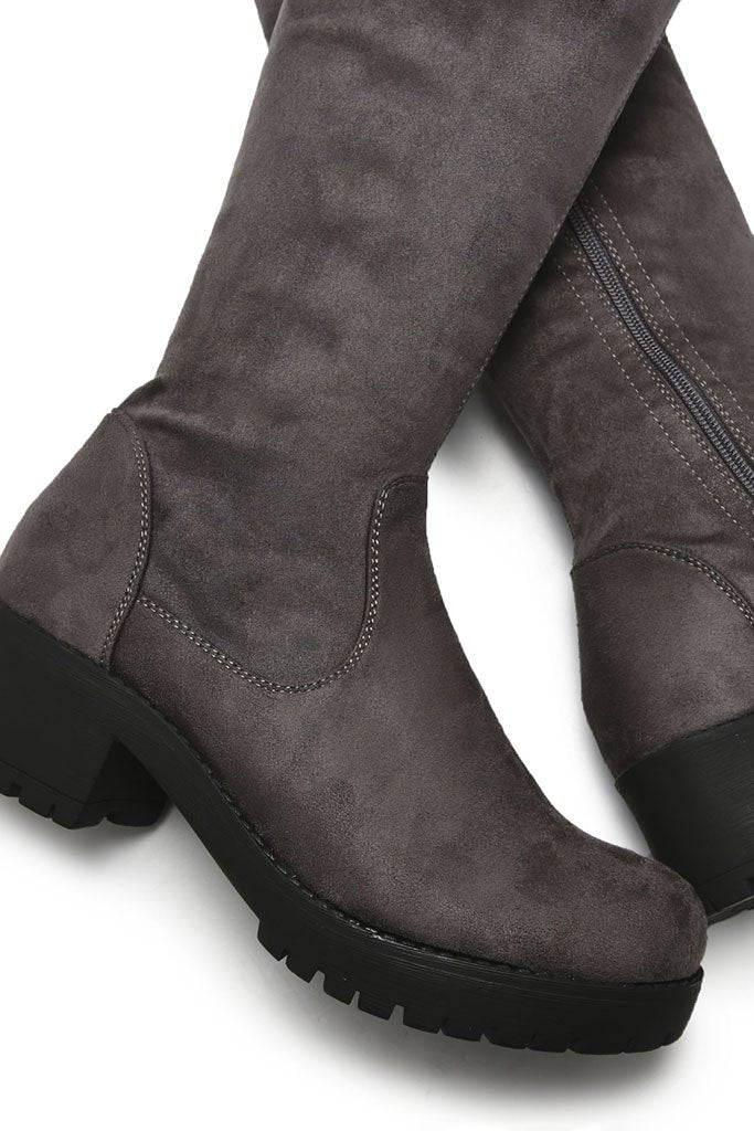 Grey Faux Suede Chunky Sole Over The Knee Boots view 5