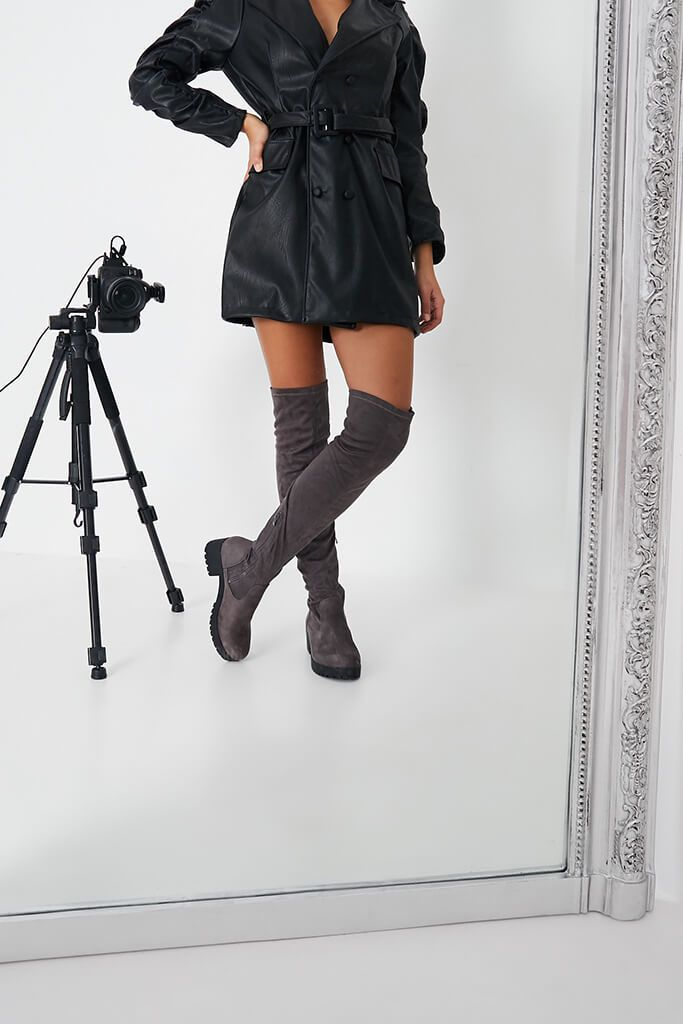 Grey Faux Suede Chunky Sole Over The Knee Boots