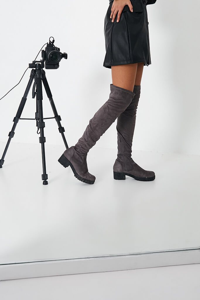 Grey Faux Suede Chunky Sole Over The Knee Boots view 2