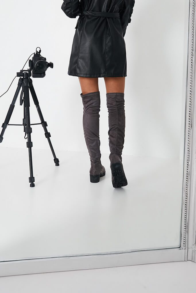 Grey Faux Suede Chunky Sole Over The Knee Boots view 3