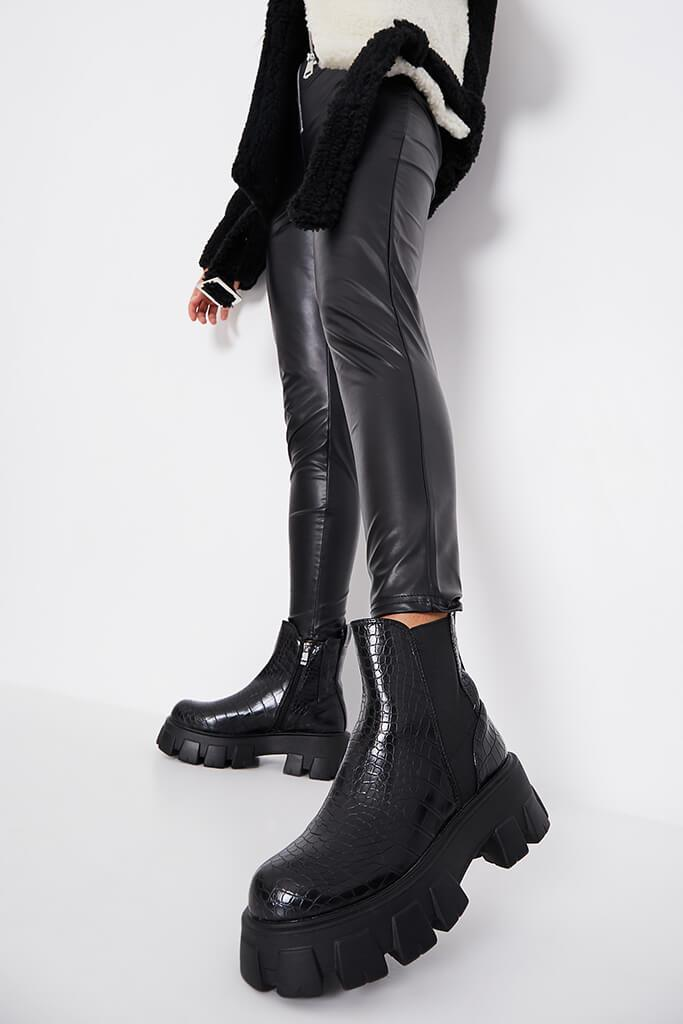 Black Extreme Chunky Sole Chelsea Boot Croc view main view