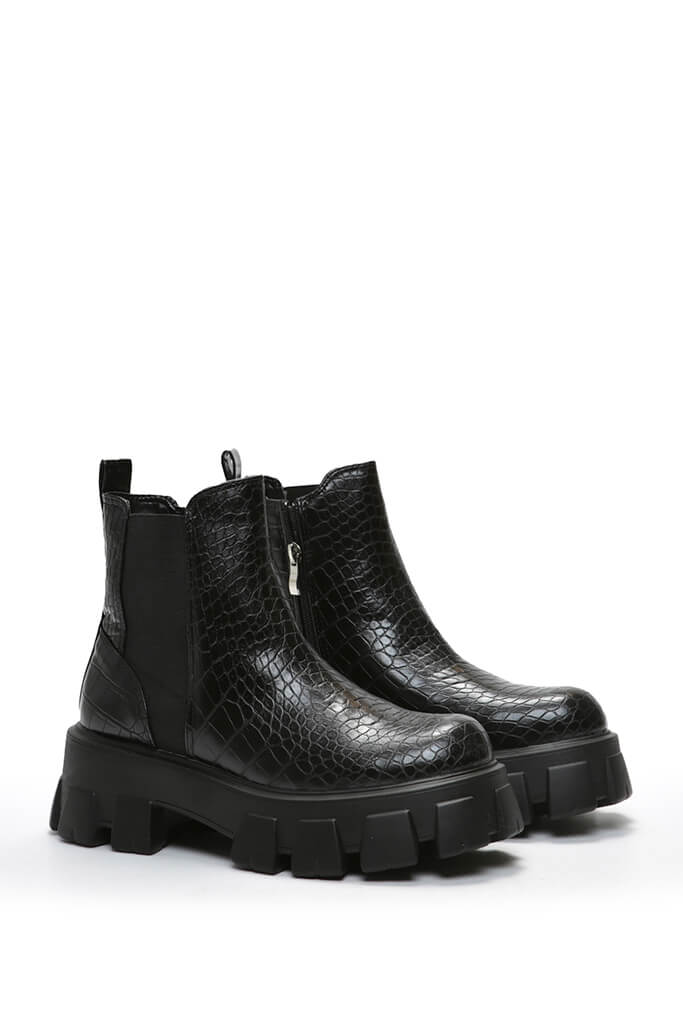 Black Extreme Chunky Sole Chelsea Boot Croc view 4