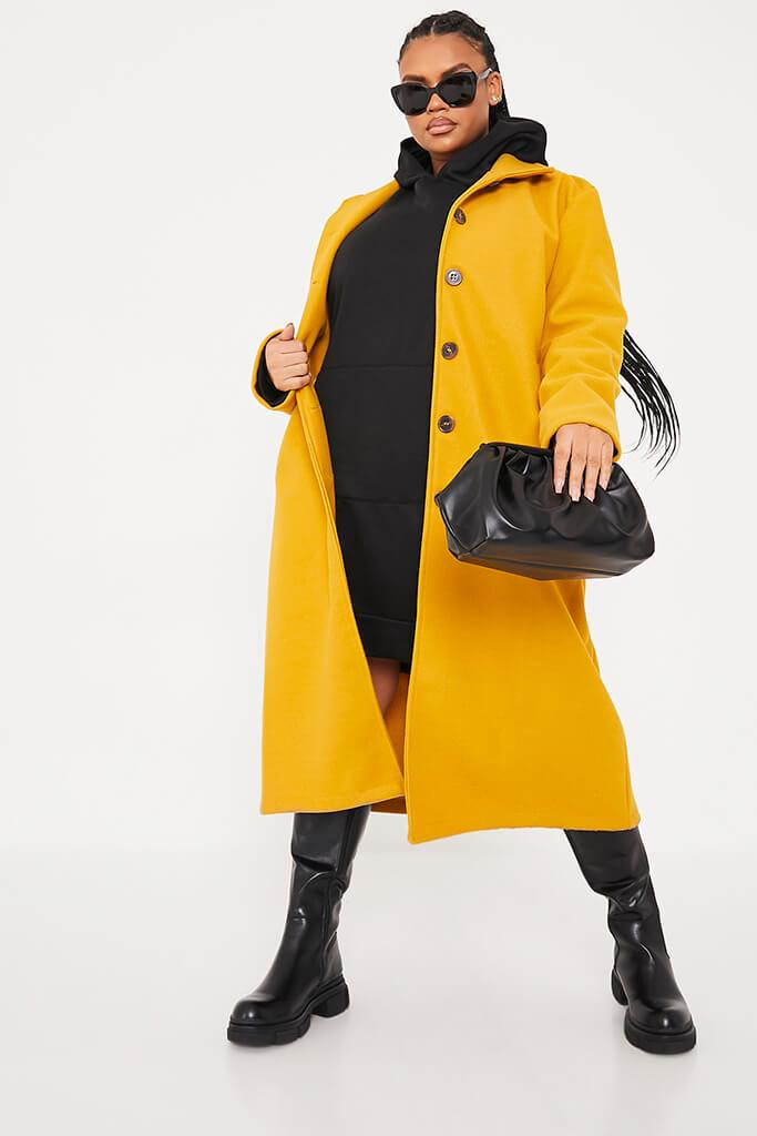 Mustard Plus Size Longline Button Up Wool Coat With Collar