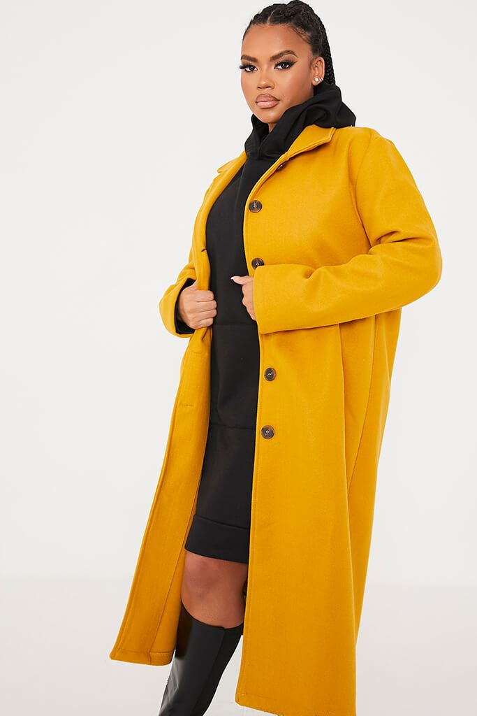 Mustard Plus Size Longline Button Up Wool Coat With Collar view 2