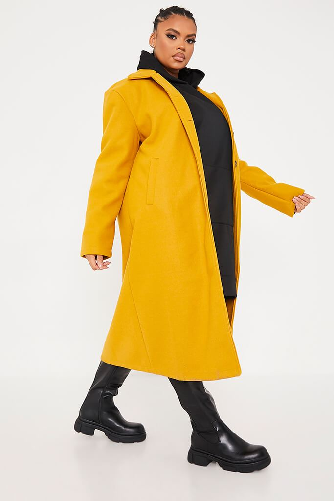 Mustard Plus Size Longline Button Up Wool Coat With Collar view 3