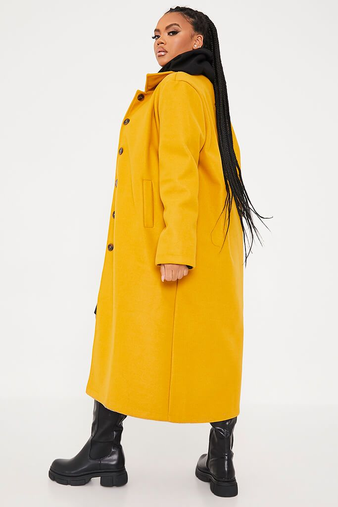 Mustard Plus Size Longline Button Up Wool Coat With Collar view 4