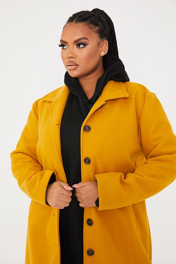 Mustard Plus Size Longline Button Up Wool Coat With Collar view 5