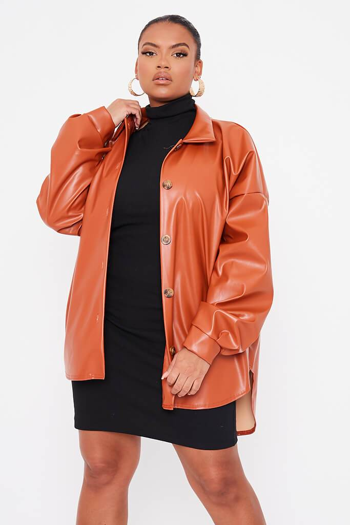 Rust Plus Size Faux Leather Shacket