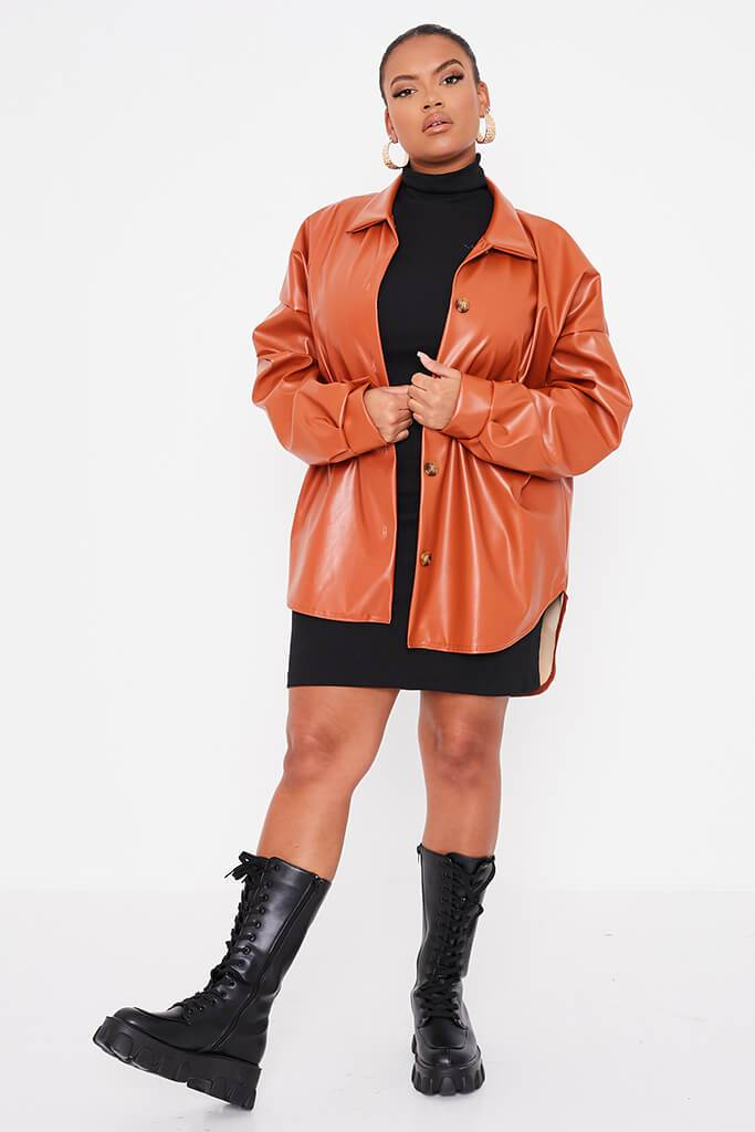 Rust Plus Size Faux Leather Shacket view 2
