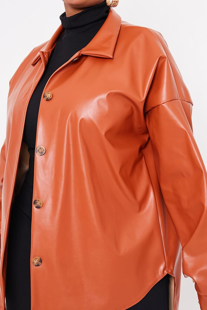 Rust Plus Size Faux Leather Shacket view 5